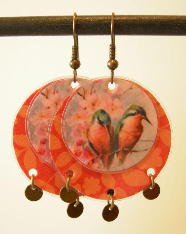 """Boucles d'oreille """"oiseaux de printemps A10 via LUNE ROUSSE. Click on the image to see more!"""