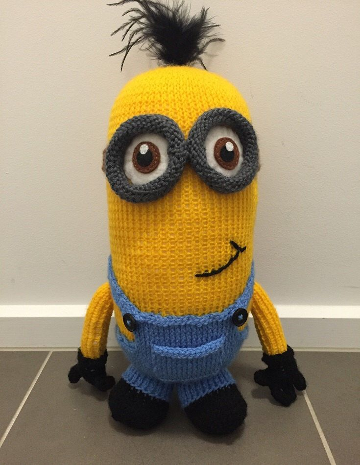 A personal favourite from my Etsy shop https://www.etsy.com/au/listing/279839604/kevin-the-minion-knitting-pattern-pdf