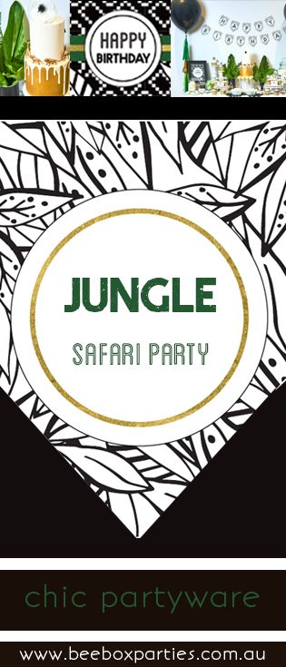 The Bee Box Parties Jungle Safari Collection. Party decorations, printables, invitations, partyware and party favours for animal enthusiasts. Shop the collection at https://beeboxparties.com.au/products/jungle-safari