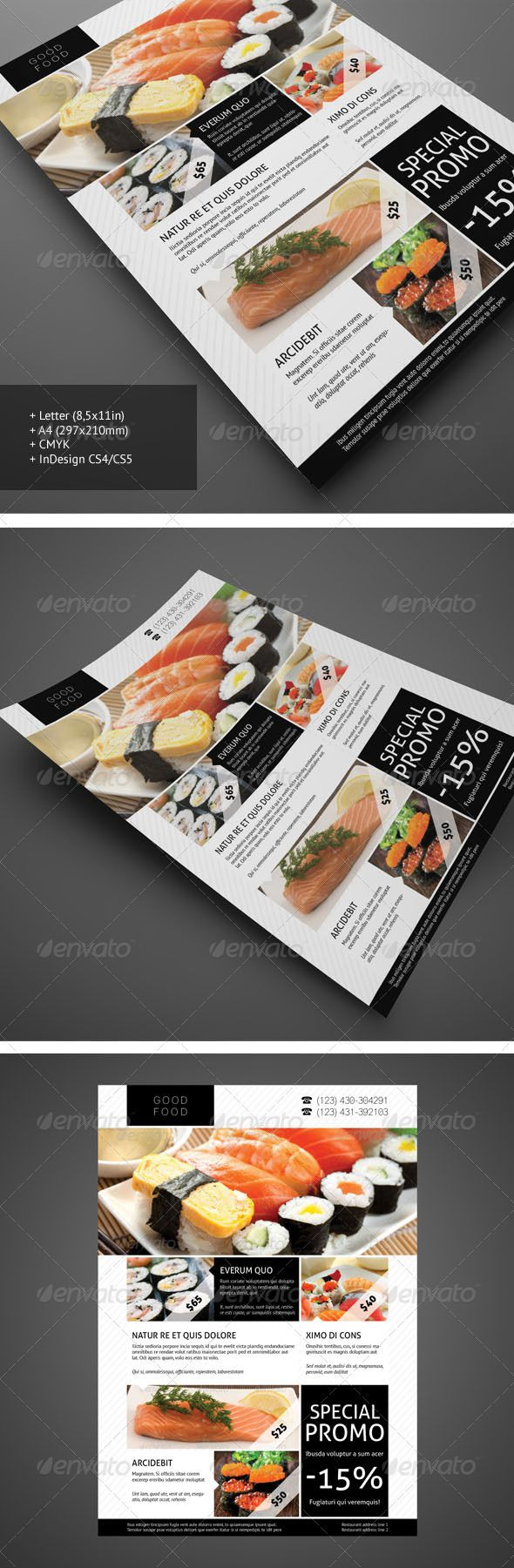 www.demorfoza.com Flyer design inspiration #restaurant #flyer #template