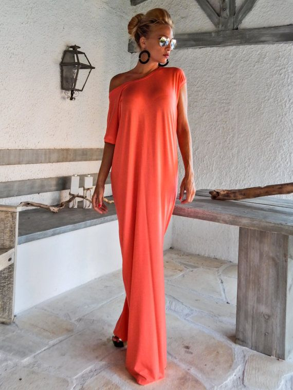Coral Open Back Bow Maxi Dress Kaftan / by SynthiaCouture on Etsy