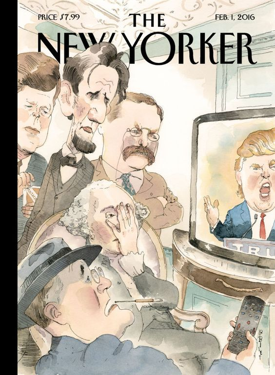 """Barry Blitt (American): Watercolor Illustration, """"Anything But That,"""" John F. Kennedy, Franklin Delano Roosevelt, Abraham Lincoln, George Washington, Theodore Roosevelt & Donald Trump (2016)"""