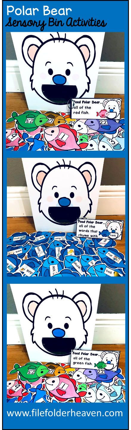 "These Polar Bear Sensory Bin Activities: ""Feed Polar Bear"" are a GREAT addition to your polar bear or winter themed sensory bins! There are so many ways to use this Feed Polar Bear Set. I have left it very open ended so that you can target the skills you need to target in a small group setting. I have also included instruction cards for each set so that you can set the activity up as an independent center, and/or sensory bin activity."