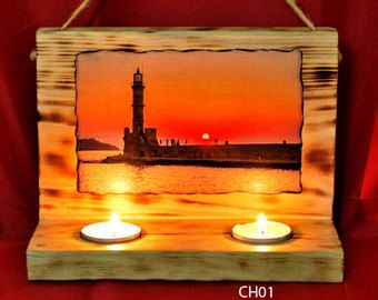 Wooden candle lantern, hand made,made in Greece. Decorative lantern,with beautiful foto.