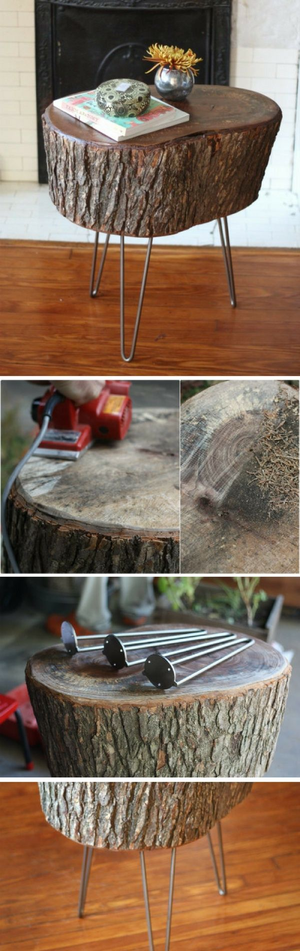 Check out this easy idea on how to make a #DIY tree stump table with hairpin legs #rustic #homedecor #budget #project @istandarddesign