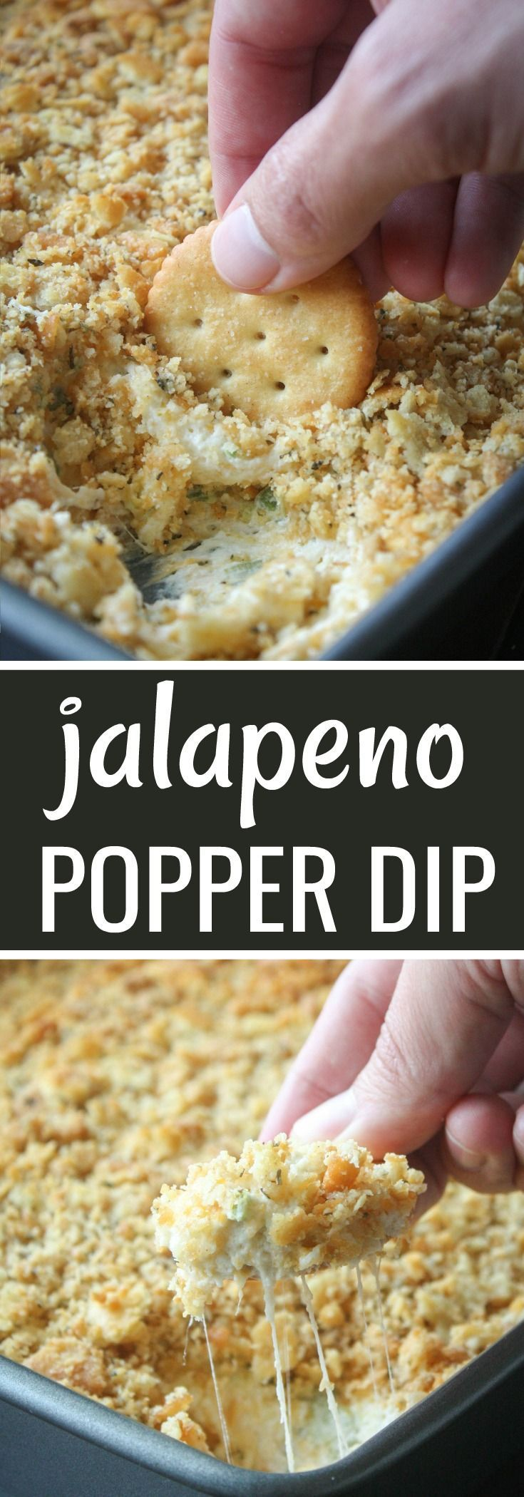Super Cheesy Jalapeno Popper Dip with Ritz Crackers Crumb Topping for a buttery crunch. Serve with Ritz Crackers, Fritos or Tortilla Chips. #cheesydips #cheesedips #jalapenopopperdip