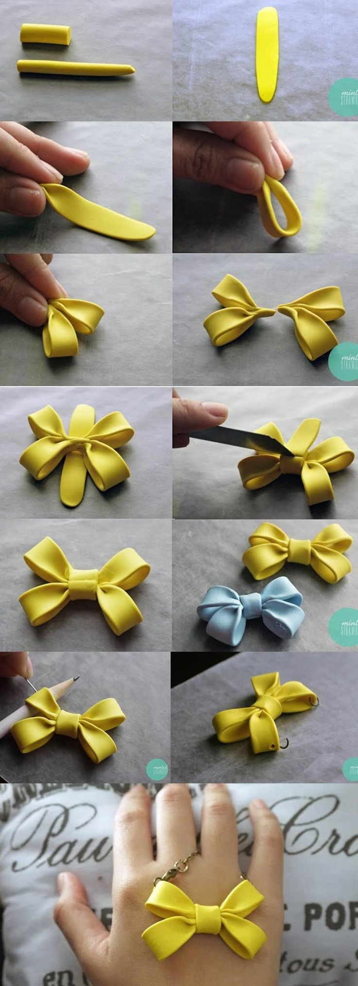 Double Bow Necklace Tutorial  What do you need?  Polymer clay  Cutter  Jump rings  Jewelry pliers  Clasp  Chain  Oven  Pencil   Pin