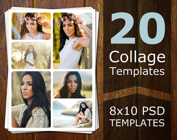 This digital product contains 20 Photoshop collage templates. These are great for photographers who are looking for photo collage templates or