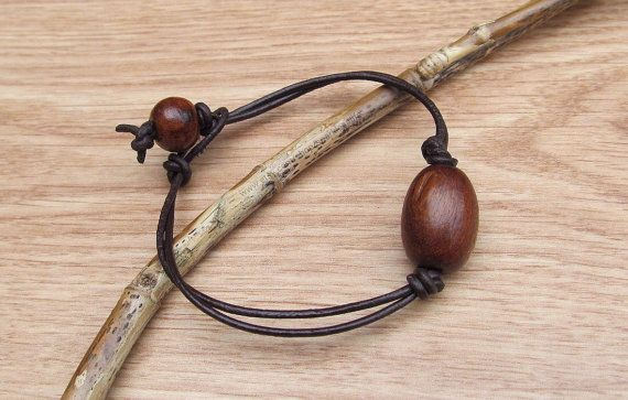 Leather Men's Bracelet Wood Handmade Brown by sparkles4life