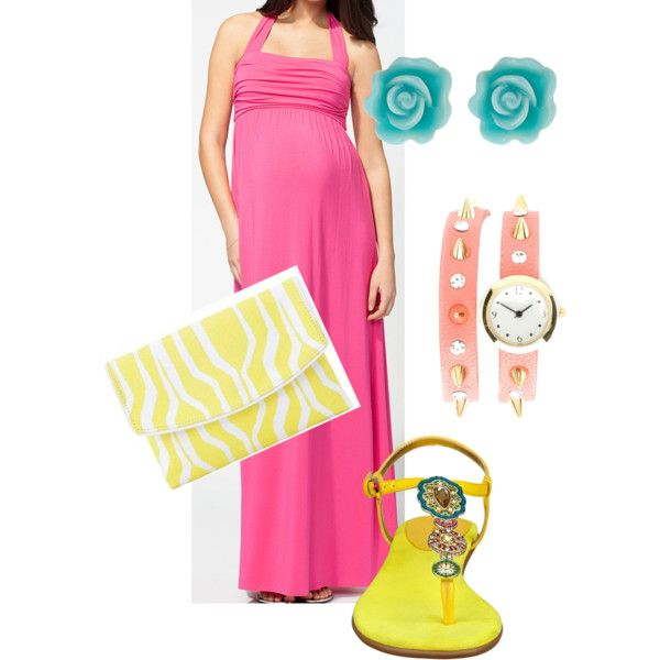 Maternity maxi with summer brights. Perfect the chic expecting mom.