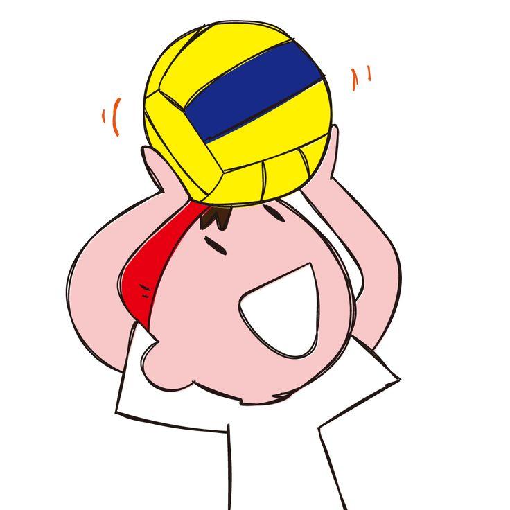 ドッジボールを頭に載せて遊ぶ男の子 イラスト