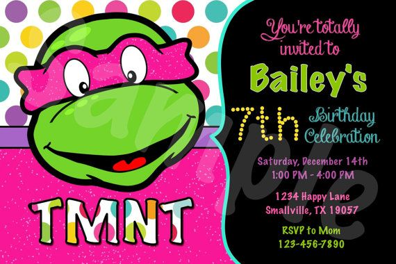 Girl Teenage Mutant Ninja Turtle Birthday Invitation by Denleys :)