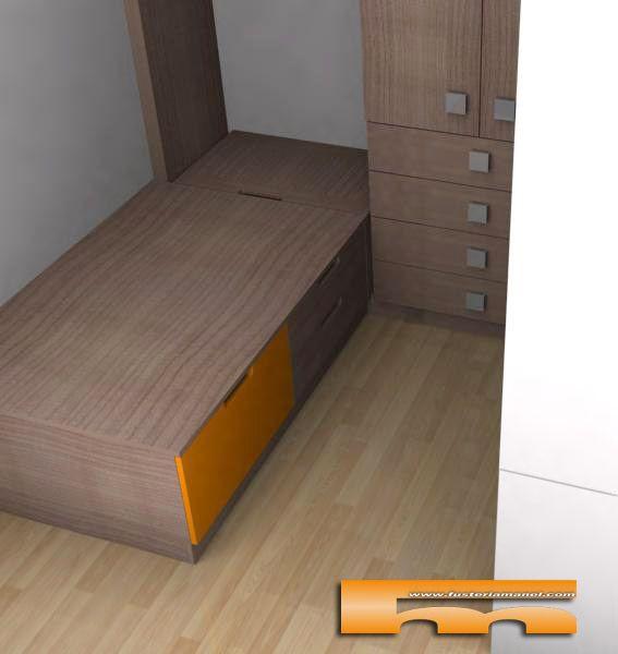 cama nido con cajones y baul cornella llobregat 3d