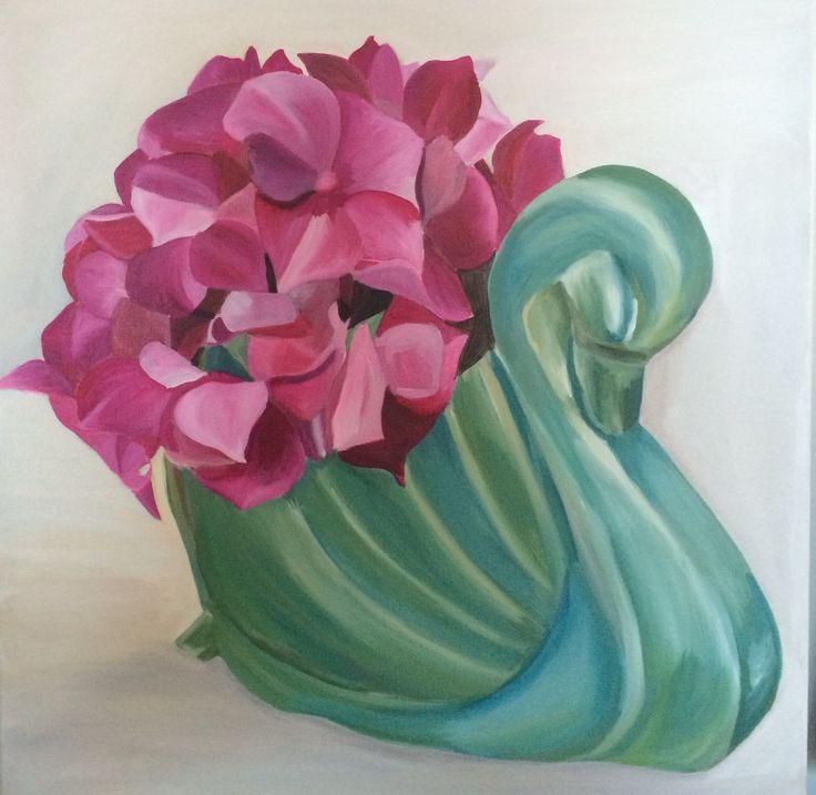 Emma Targett - painting - swan - vase - acrylic on canvas - green - pink - floral - 50 x 50cm - www.emmatargett.com