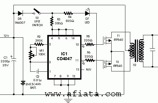 Inverter circuit using CD4047 | 12 v 25v~5A in 2019 | Circuit diagram, Electronic schematics