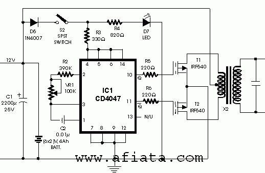 Inverter circuit using CD4047 | 12 v 25v~5A in 2019