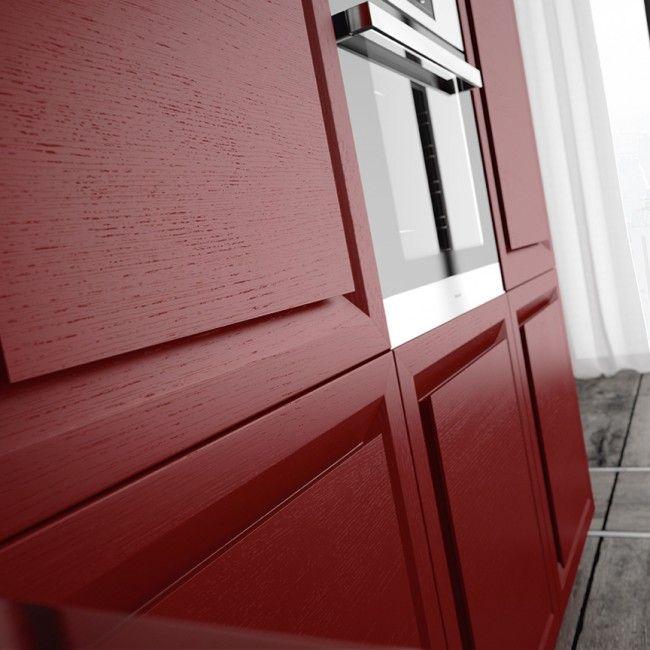 Biefbi Cucine_Diamante: Detail of red oak doors. / Dettaglio ante in rovere rosso.