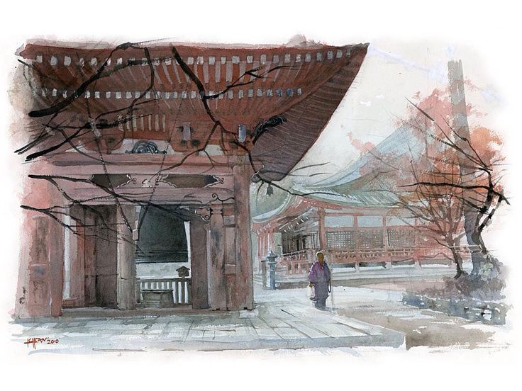 Misty morning in Enryakuji temple (2011). 38X56cm. Watercolor on Arches 300gsm paper. #watercolor #watercolour #japan #kyoto #buddhism #temple #ichsanharjanugraha #ichsanharja