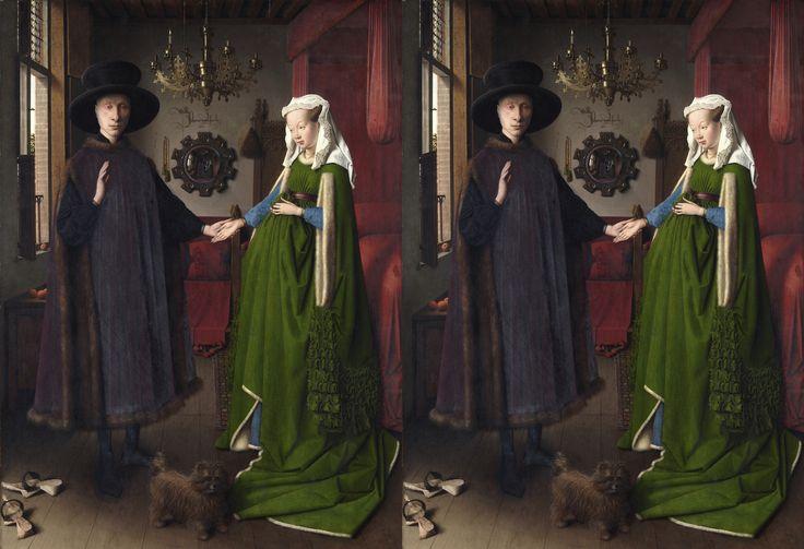 Matrimonio Arnolfini (1434) Jan Van Eyck Cuadro original y cuadro con la perspectiva corregida por Miguel Mantilla, profesor de dibujo de la EASD Antonio Faílde de Ourense.