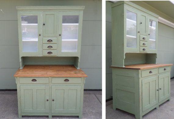 Antique, Farm Cabinet, Cottage Chic, Cabinet, China Cabinet, Celadon
