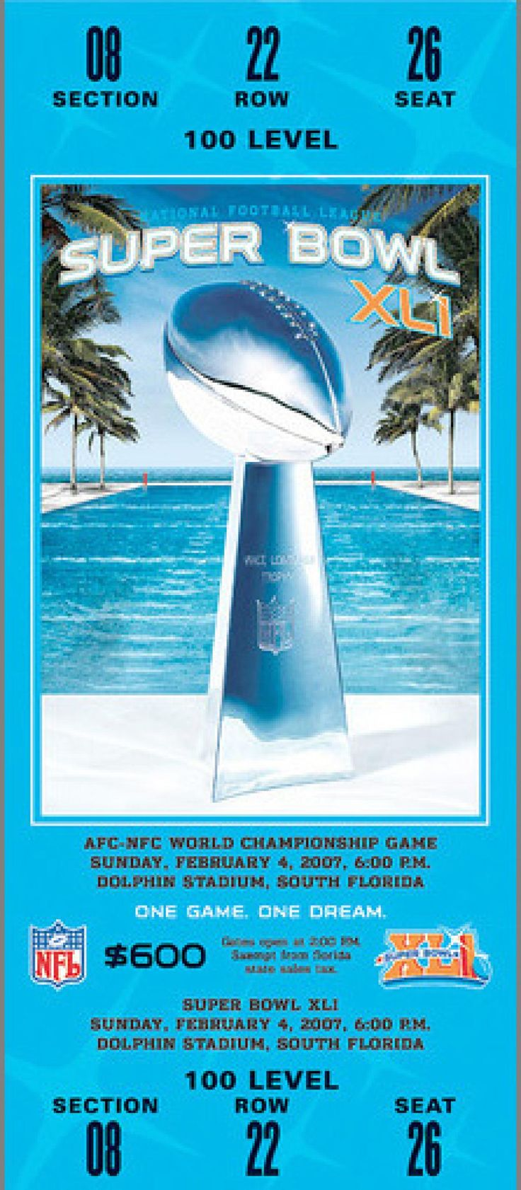 Played on February 4, 2007 at Dolphin Stadium in Miami Gardens, Florida. The MVP of the game was Colts QB Peyton Manning. The average ticket cost was $650.00