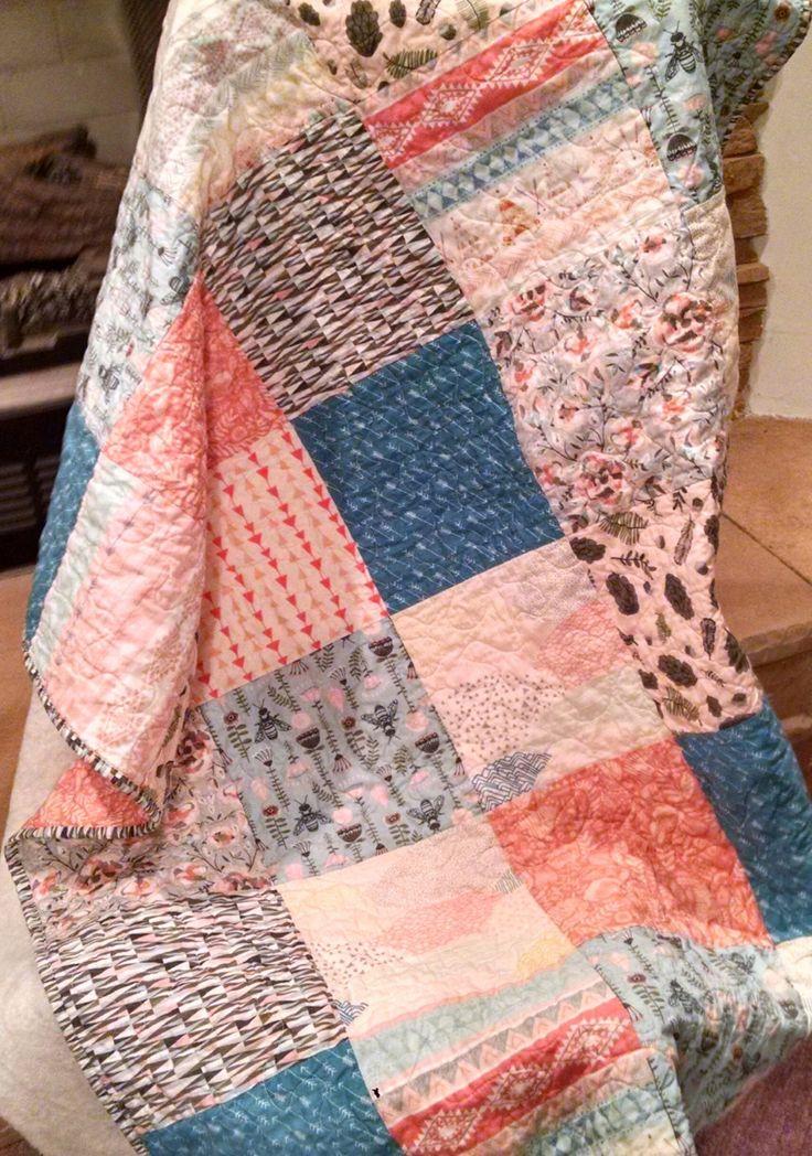 Girl Quilt, Southwest Girl Quilt, Bee Quilt, Baby Toddler Quilt, Hello Bear, Norwegian Wood, Southwestern Quilt, Southwestern Bee Bedding, by QuiltsbyVanCleef on Etsy