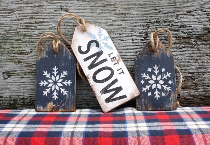 FREE SHIP Let It Snow Wood Tags Rustic Distressed Snowflake Christmas Hanukkah Large Tag Sign Set by TheUnpolishedBarn on Etsy https://www.etsy.com/listing/257336907/free-ship-let-it-snow-wood-tags-rustic