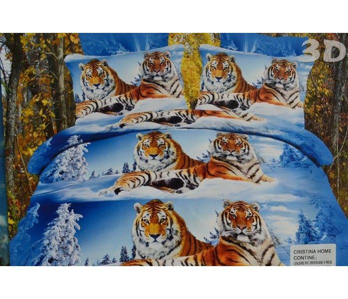 Lenjerie de pat 3D tigru siberian 1+1 gratis 129.00lei