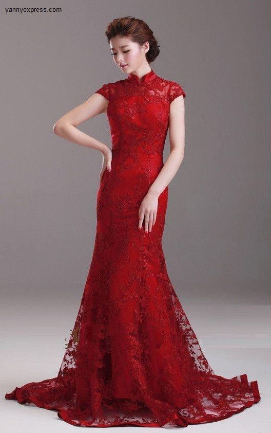 Chinese Wedding Ball Gown Crimson Bridal Qipao Long Prom Dress