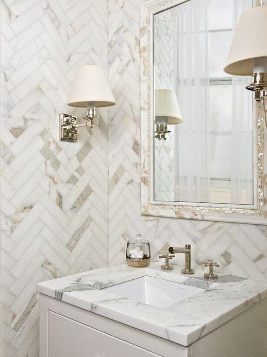 herringbone marble wall tile
