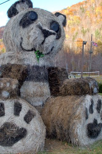 Picture of Giant Panda Made of Hay Bales at the Pasta Pot in ...