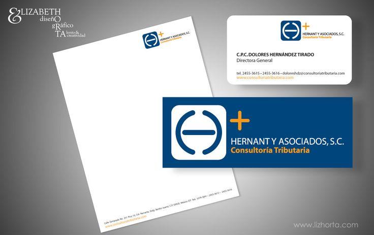 Imagen Corporativa para Despacho Contable.  Logotipo, hoja membretada, folder, tarjetas.