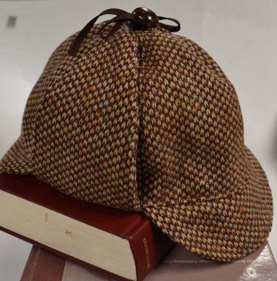 Sherlock Holmes Hat Deerstalker Hat in Brown Vintage Wool