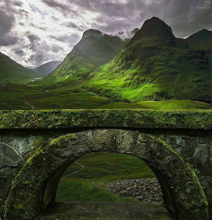 Glencoe Highlands in Scotland. The village of Glencoe and its mountains have been seen in numerous films, including Harry Potter and the Prisoner of Azkaban as the home of Hagrid and the 2012 James Bond movie Skyfall.