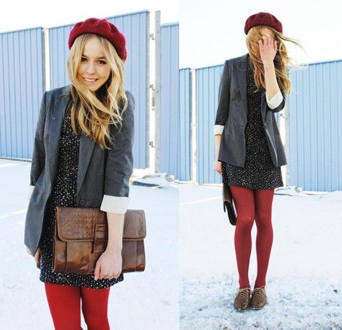 Not a huge fan of tights but I like how it comes together with her outfit. Posted by Frida Johnson on Lookbook.