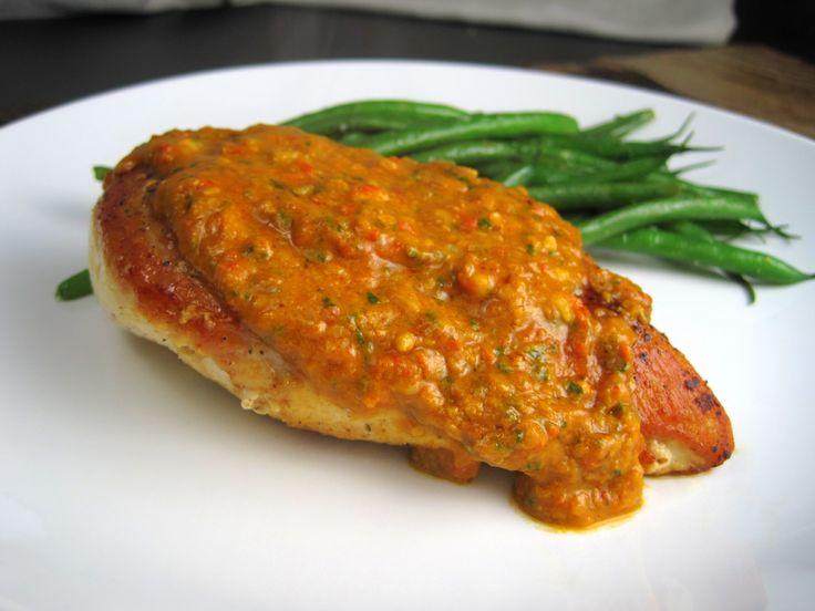 Tomato-Almond Pesto over Seared Chicken