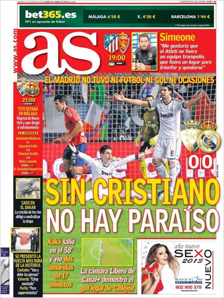 Los Titulares y Portadas de Noticias Destacadas Españolas del 13 de Enero de 2013 del Diario Deportivo AS ¿Que le parecio esta Portada de este Diario Español?