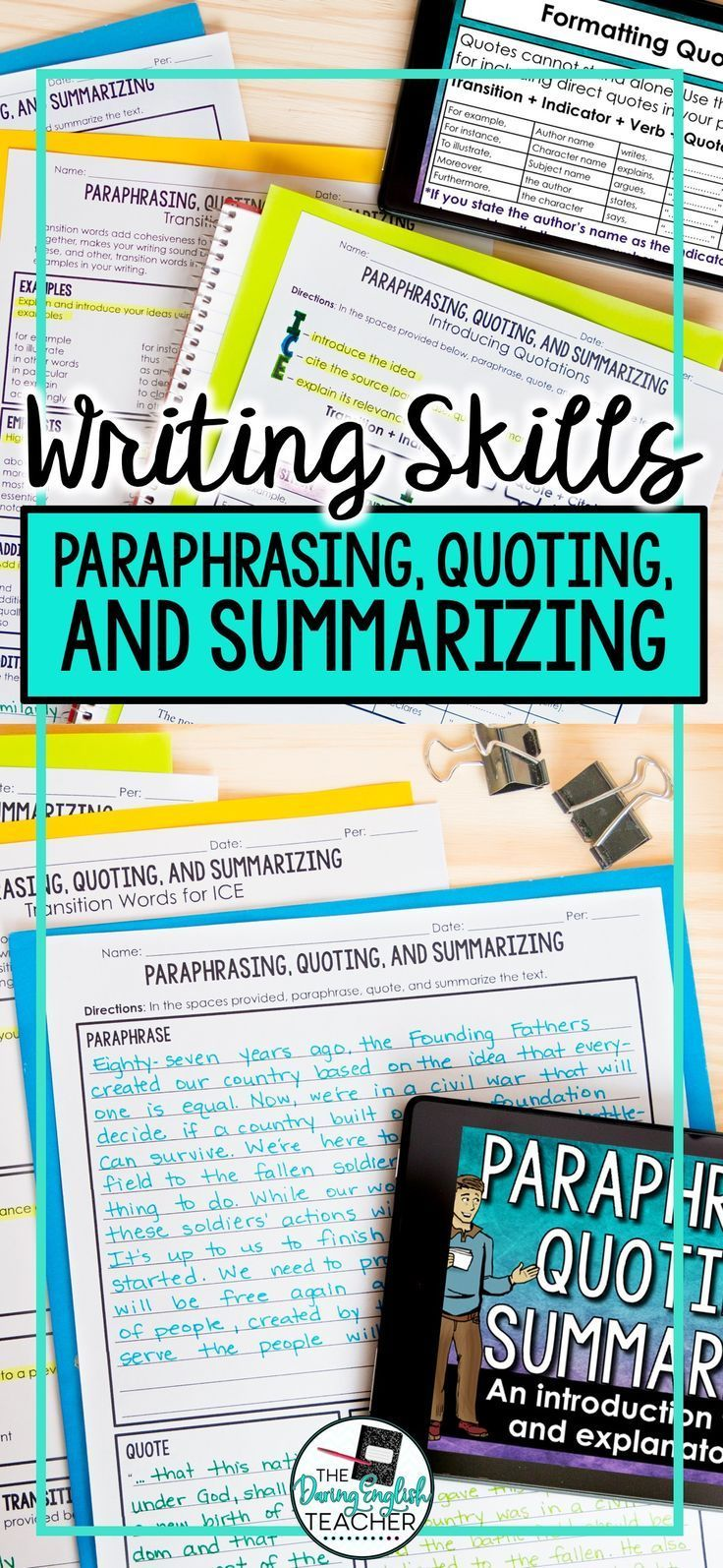 Paraphrasing Quoting And Summarizing Teaching Writing Skills Difference Between