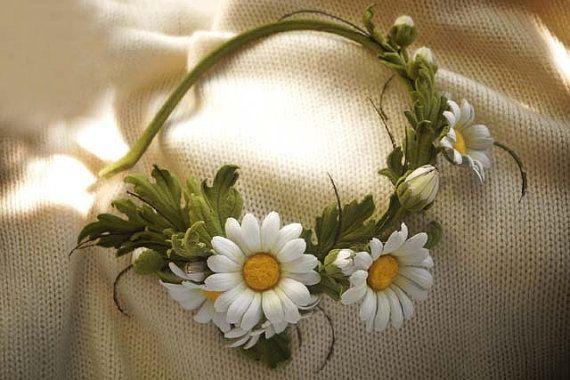 Leder-Stirnband, florale Krone, Haar Zubehör, floral Kopf Kranz Blume weiße Gänseblümchen, Leder Blumen, Frau Stirnband Gilrl Stirnband Haar