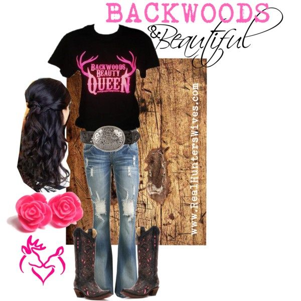 """""""BACKWOODS BEAUTY"""" by realhunterswives on Polyvore Support and Roll Coal For Diesel Dave. Buy Awesome Diesel Truck Apparel! Click the link below! Stay Tuned For Truck Giveaways. http://www.dieselpowergear.com/#_a_Cowroy"""