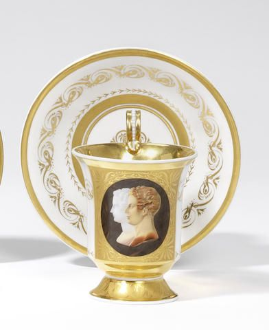 A fine Berlin portrait cabinet cup and saucer Circa 1823-34,