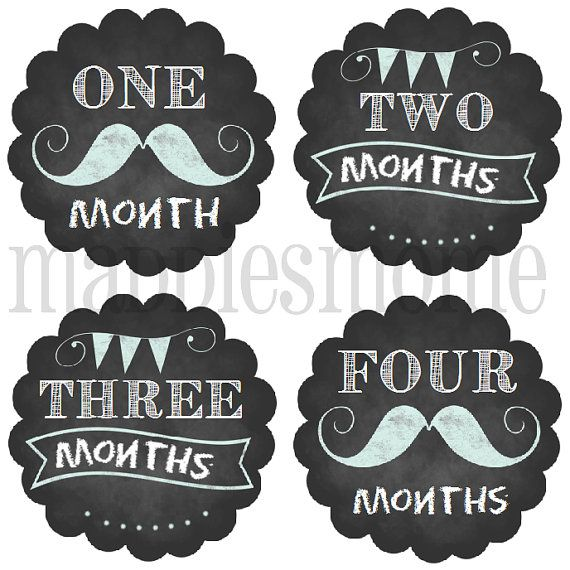 Monthly Baby Stickers Baby Boy Month Stickers Milestone Stickers Monthly Photo Stickers Bodysuit Stickers Mustache Banner(Chalkboard Boy) on Etsy, $8.99