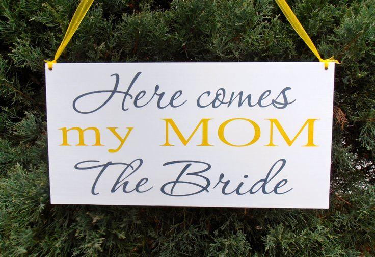 Voici le signe de la mariée My Mom signe décoration anneau porteur demoiselle signe mariage by Nesedecor on Etsy