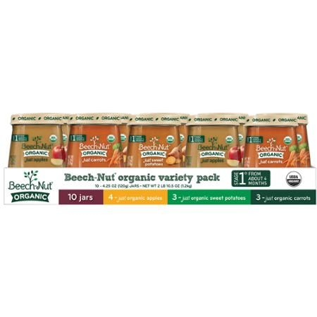 Beech-Nut Organic Stage 1 Baby Food Variety Pack, 4.25 oz, 10 count - Walmart.com