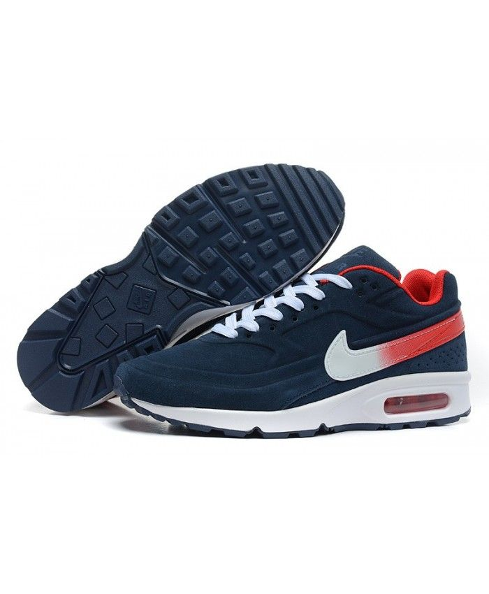 Nike Mens Air Max BW Trainers In Navy Red White