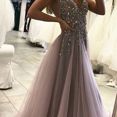 Sexy side split prom dress,sleeveless tulle evening dress,long party dress