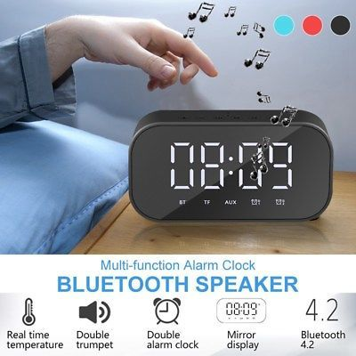 Wireless Bluetooth Speaker Mp3 Digital Fm Radio Mirror Led Alarm