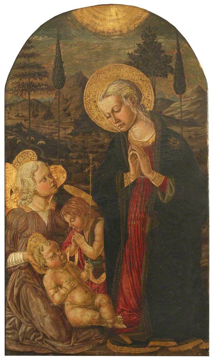 Maestro di San Miniato - Madonna col Bambino con San Giovanni Battista e un angelo - Campion Hall, Università di Oxford