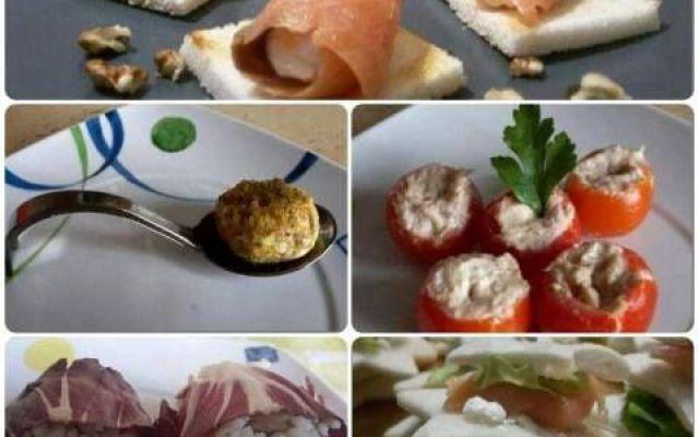 Idee originali e sfiziose per il vostro cenone di capodanno Per il vostro cenone di capodanno vi propongo cinque ricette sfiziose molto semplici da preparare e molto golose. A base di salmone, tonno, philadelphia, pane bianco, pomodorini potrete preparare un  #antipasti #salmone #tonno #pistacchio