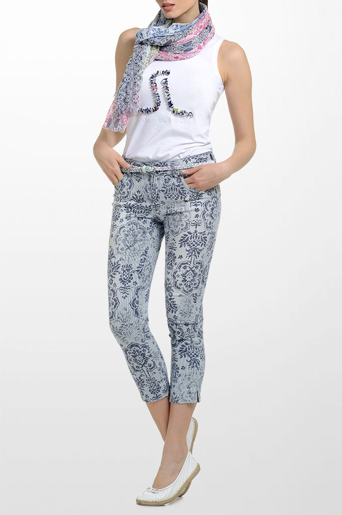 Sarah Lawrence - sleeveless cotton tank, cropped printed skinny pant, printed scarf, braided leather belt.
